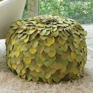 Multi-color Leaf Pouf Ottoman for Enchanted Woodland Fairy Girl's room by Living Lullaby Designs #fairyroom #livinglullaby
