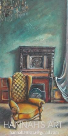 Artist: HANNAH, Chair and fire place, oil on canvas, 380 x 760, Price on request