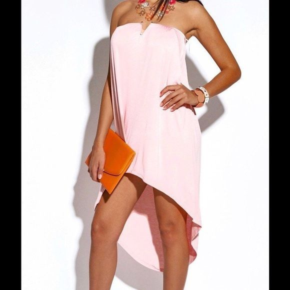 HPStrapless Summer Dress BT-02-PNK-S strapless cocktail dress. 95% rayon 5% spandex. Dresses Strapless
