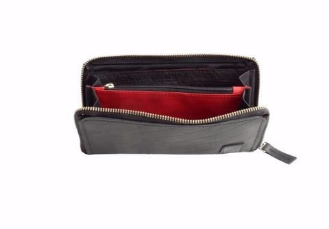 Zip around clutch wallet made from recycled inner tube rubber - Recycle Creative