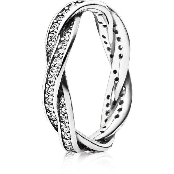 Pandora Ring - Sterling Silver & Cubic Zirconia Twist of Fate ($135) ❤ liked on Polyvore featuring jewelry, rings, accessories, pandora jewelry, twist jewelry, pandora jewellery, twist rings e pandora rings