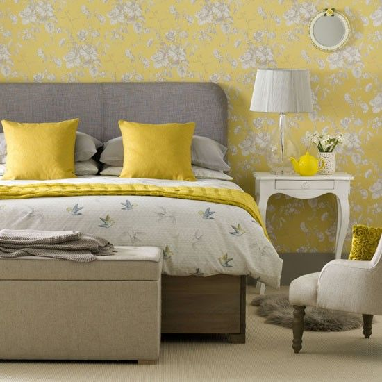 Create a grown-up vintage bedroom. Go for a modern, French-country scheme with a daffodil-yellow floral wallpaper teamed with elegant furniture painted in soft grey. Tone the look down with a neutral carpet on the floor and add clear glass and metallic details around the room to keep the scheme easy on the eye.  #Sleeptember