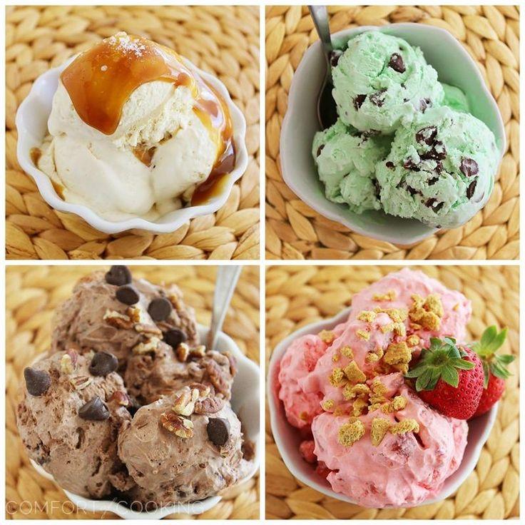 Increíble No-Churn Helados: 6 Sabores - sólo 2 ingredientes + tus mix-ins favoritos hace que el más suave, cremoso helado NUNCA.  Sin fabricante de helado necesario!     thecomfortofcooking.com