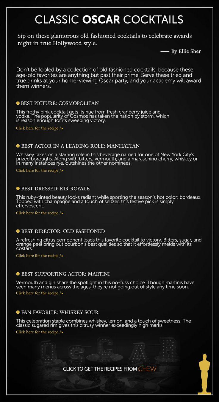 "Classic Oscar Cocktails The Oscars 2014 | Academy Awards 2014 www.LiquorList.com ""The Marketplace for Adults with Taste!"" @LiquorListcom  #LiquorList"