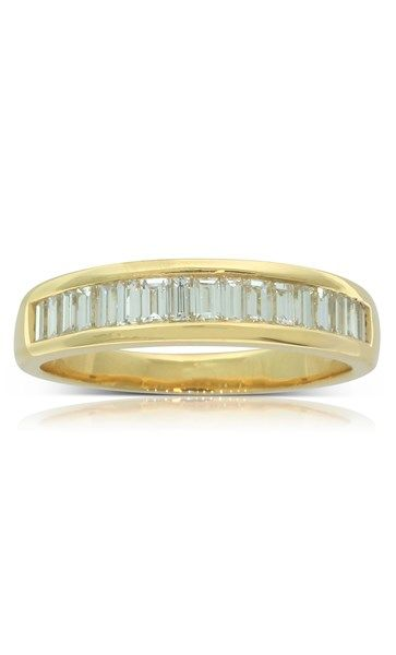 18ct yellow gold .69ct baguette diamond ring