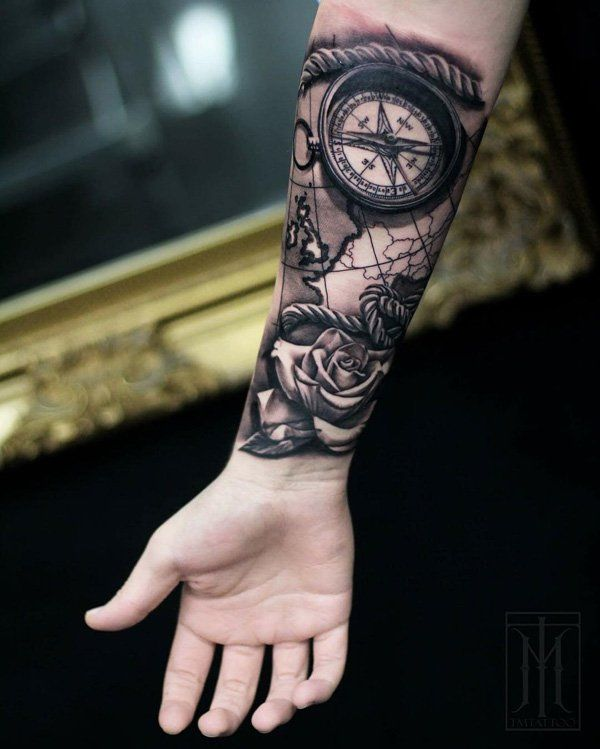 3D Compass and rose - 100 Awesome Compass Tattoo Designs