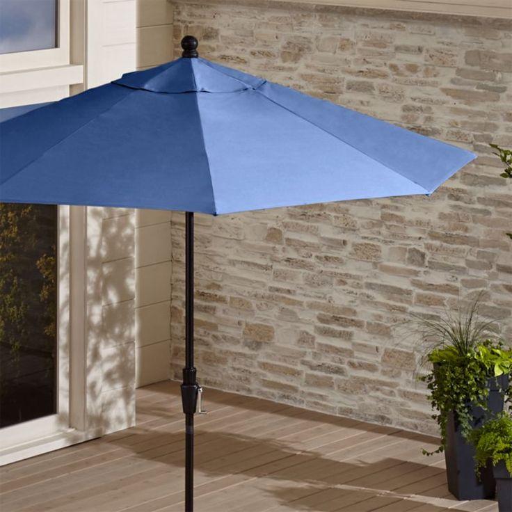 Shop 9' Round Sunbrella ® Mediterranean Blue Patio Umbrella with Tilt Black Frame.