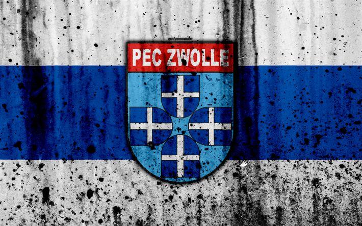Download wallpapers FC Zwolle, 4k, Eredivisie, grunge, logo, soccer, football club, Netherlands, Zwolle, art, stone texture, Zwolle FC