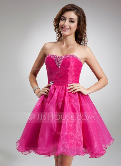 Bridesmaid Dresses - $99.99 - A-Line/Princess Sweetheart Knee-Length Organza Bridesmaid Dress With Beading Sequins (022020825) http://jjshouse.com/A-Line-Princess-Sweetheart-Knee-Length-Organza-Bridesmaid-Dress-With-Beading-Sequins-022020825-g20825?pos=your_recent_history_2