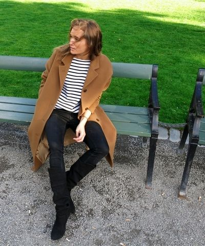 camel coat & striped shirt