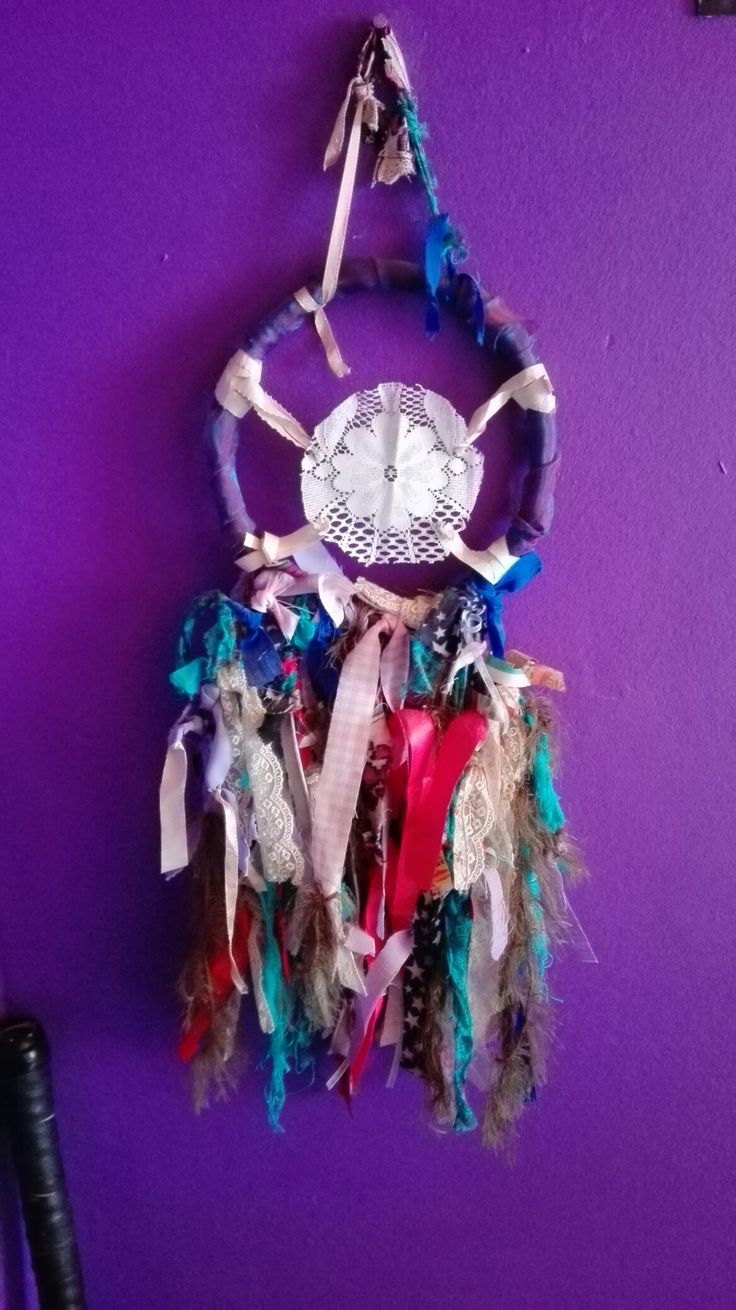 Dream catcher made out of recycled materials.  #DreamCatcher #Recycling #Recycled #Material