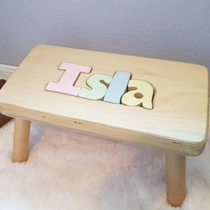 CubbyHoleToys Personalized Puzzle Name Stool