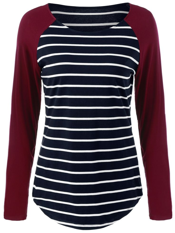 Raglan Sleeve Comfy Striped T-Shirt in Stripe | Sammydress.com
