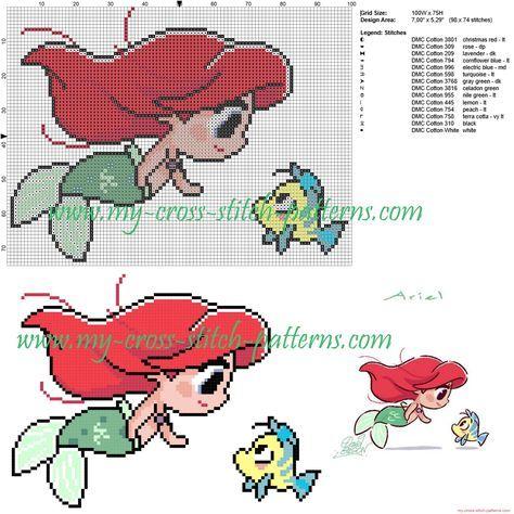 Ariel y Flounder patrón punto de cruz