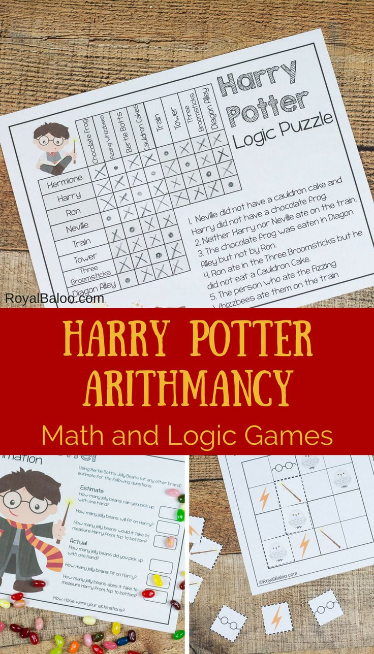 See the Harry Potter Arithmancy post here   This Harry Potter pack is intended for kids aged 5-10. What's in the pack? 3 Harry Potty Math and Logic Puzzles   This pack is designed to go with Harry Potter Books Scroll Down to download     By downloading this file you are agreeing to my Terms of Use. …