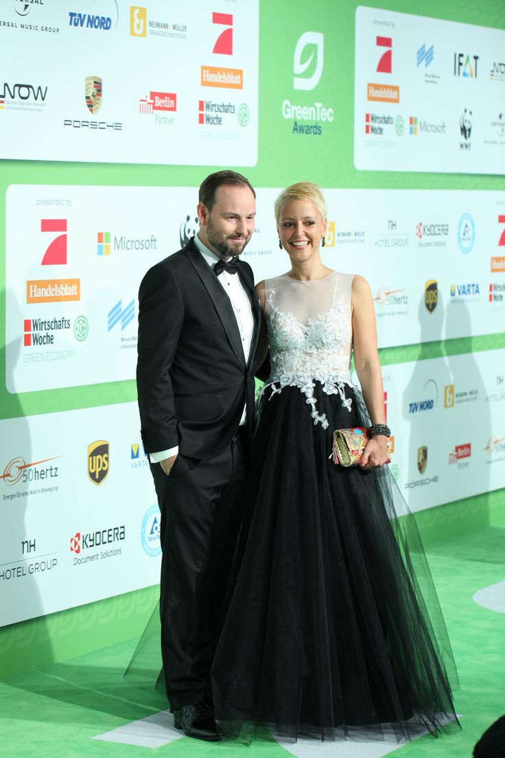 Marco Voigt with Alexia Osswald - ECONYL® at the GreenTec Awards 2015 in Berlin. The Green Carpet was made by Vorwerk using ECONYL® regenerated yarn coming from fishing nets, old carpets and other pre-consumer waste. At the event we had also a photo booth with funny props inspired by our regeneration of carpets, nets and by the marine world we are fighting to save. #ethical #fashion and #design#sustainability