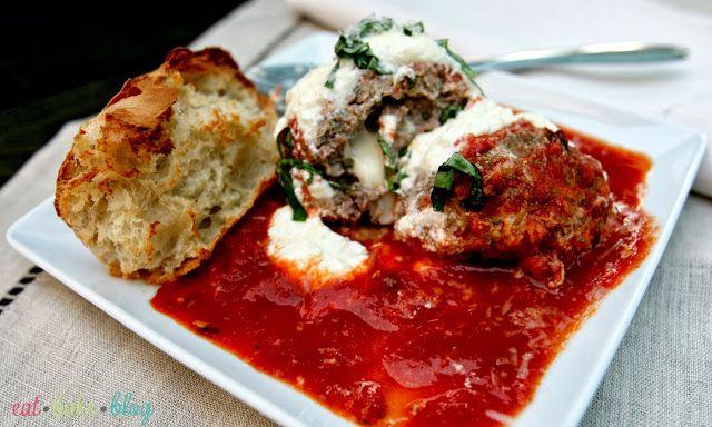 Cheesy Stuffed Jumbo Meatballs With Fresh Ricotta