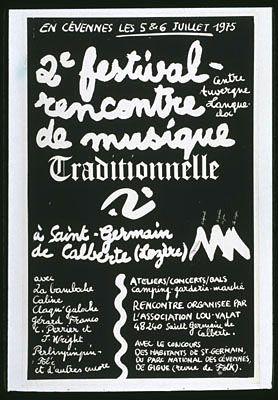 En Cévennes les 5 et 6 juillet 1975. 2ème festival-rencontre. Musique traditionnelle à Saint-Germain de Calberte (Lozère)