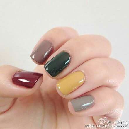 Not a fan of the multi coloured nail colours ~ but this one I like with an Olive…