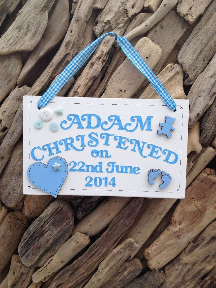Christening Baby Boy Girl Personalised Plaque Sign Name Weight Present Gift