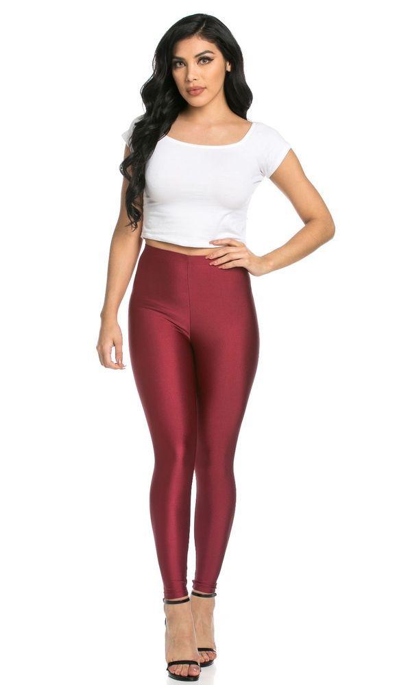 satin shiny lycra spandex metallic maroon leggings size S M L XL  #wetland #Leggings