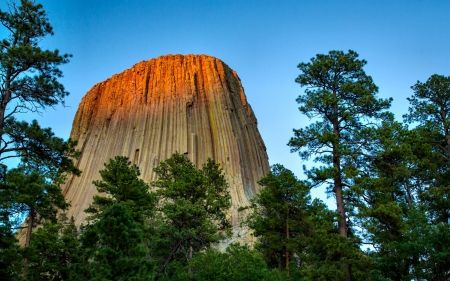 Torre do Diabo - lindas, forças da natureza, foto, natureza, tela panorâmica, Parque Nacional, cenário, EUA, paisagem, Devils Tower, Wyoming, fotografia