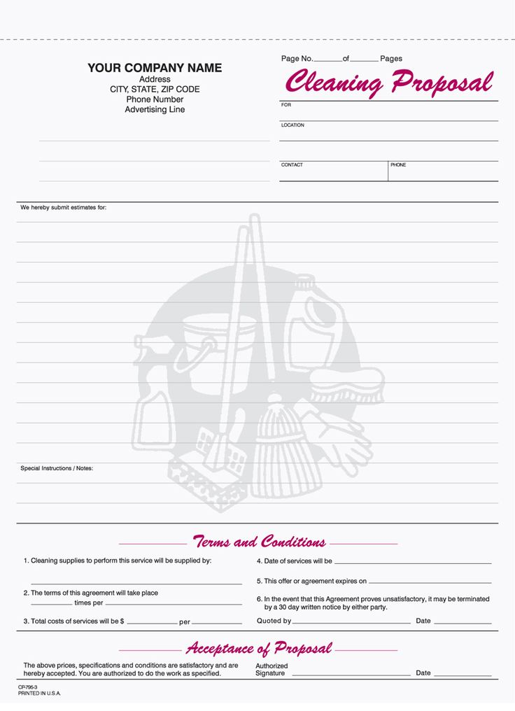 free printable cleaning proposal forms  with images