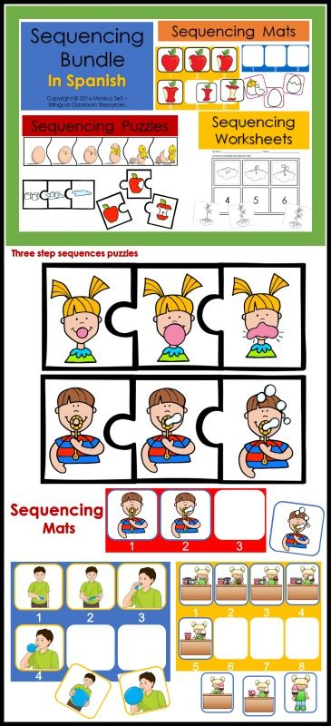Sequencing Bundle In Spanish is a fun way to help your students practice sequencing skills.  30 Sequencing Worksheets (Black and White) Includes the following: 22 Three-step sequences 6 Six-step sequences 2 Eight-step sequences  32 Sequencing Mats: Children will love these sequencing mats! 23 Three-step sequences 6 Six-step sequences  3 Eight-step sequences 32 Sequencing Picture Puzzles Write about the sequence worksheet: