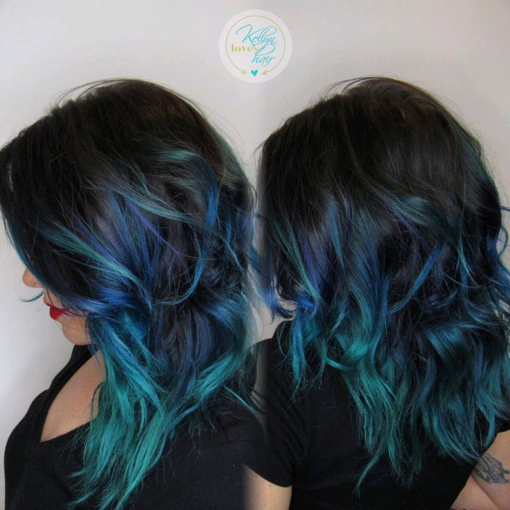 Black, blue, teal vivid hair color melt - by Kellyn at Bow & Arrow, North End Boston at www.bowandarrowcollective.com
