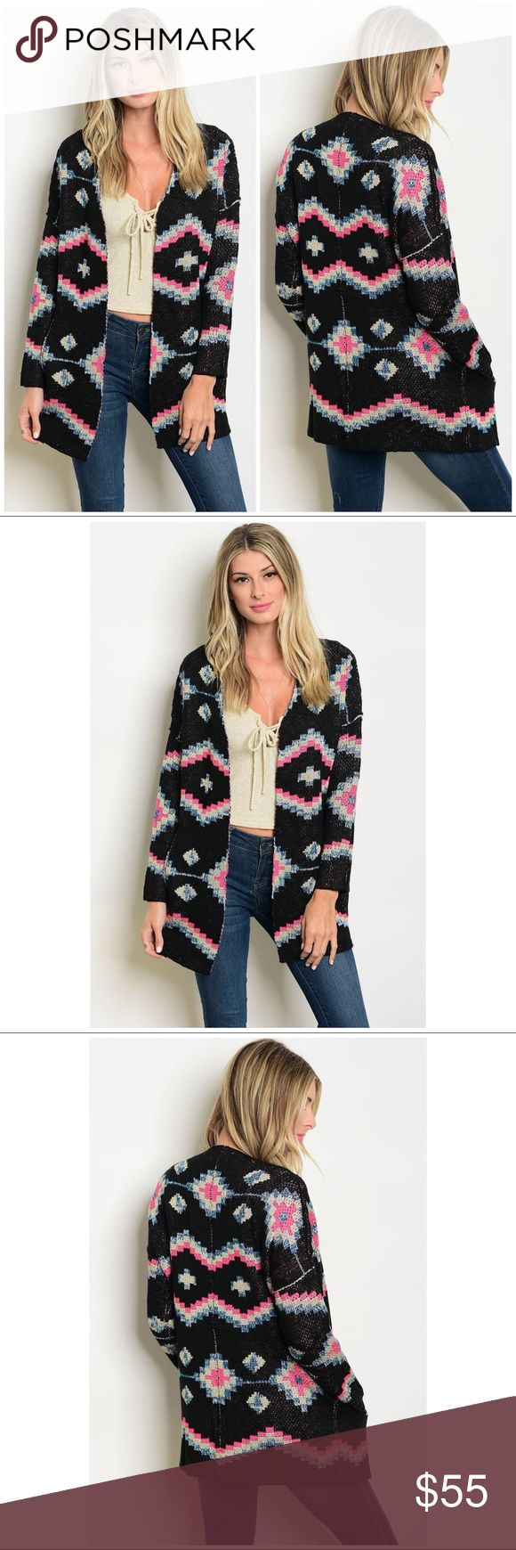 "Boho Chic Tribal Print Cardigan Sweater Jacket You'll look chic and trendy in this tribal geometric print cardigan sweater jacket! The cardigan is black with pink, blue & silver lurex geometric patterns.  *90% acrylic/10% polyester *Model is 5'7"" wearing a size Small *Open front  CLOSET RULES: Bundle Discounts * No Trades * Smoke free Laura's Boutique Sweaters Cardigans"