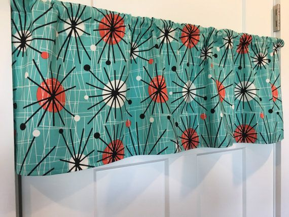 Retro Mid-Century Modern Atomic Turquoise Valance by TheSewSavvy