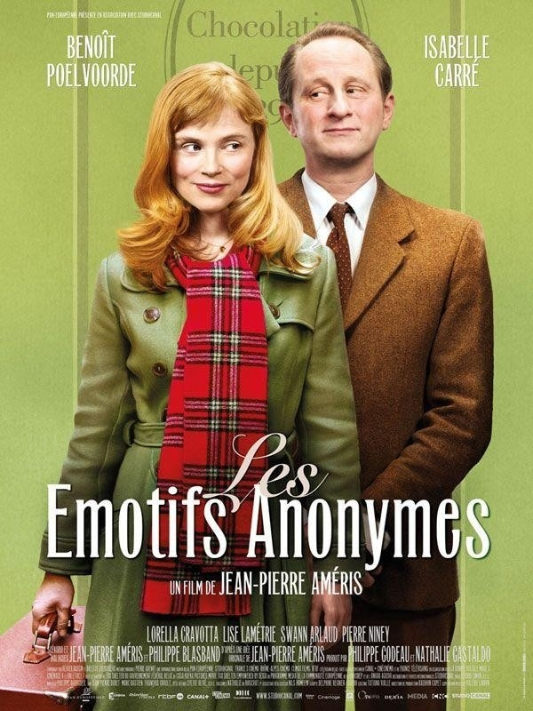 Les Emotifs Anonymes (2011) France/Belgium. Directed by Jean-Pierre Améris. This movie tells the story of two people, obsessed by chocolate and held back by being ridiculously socially awkward, falling in love. It's lovely.