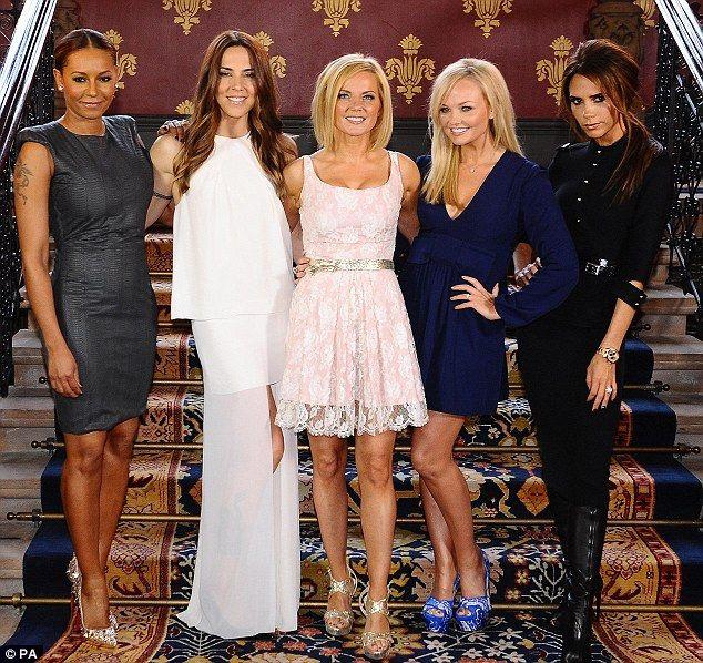 White choice: Mel C wore the 'barika' tiered sateen maxi dress when the Spice Girls reunited to launch their musicalSpices Girls, Girls Generation, Girls Music, Spics, Spice Girls, Victoria Beckham, Girls Power, Spicegirls, Viva Forever