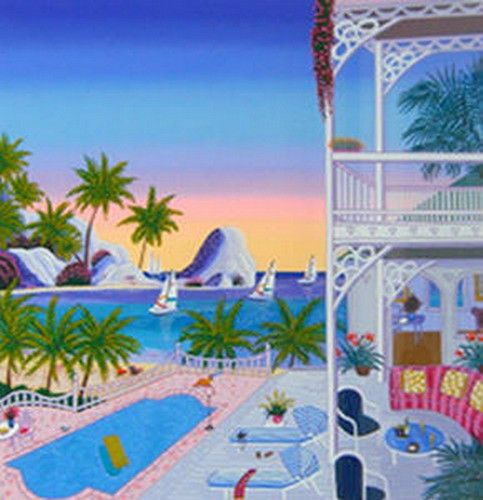 FANCH LEDAN LIMITED EDITION SIGNED NUMBERED SERIGRAPH SEYCHELLES VILLA 150/350 #Contemporary