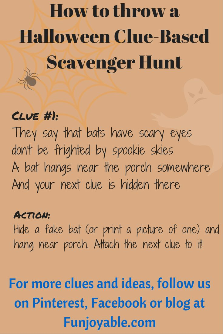 Follow this to the blog to get all of the information on how to throw a Halloween themed, clue-based Scavenger Hunt. This is the first clue in a series. Follow us on Pinterest and Facebook for updates! #Halloween   #Funjoyable   #halloween
