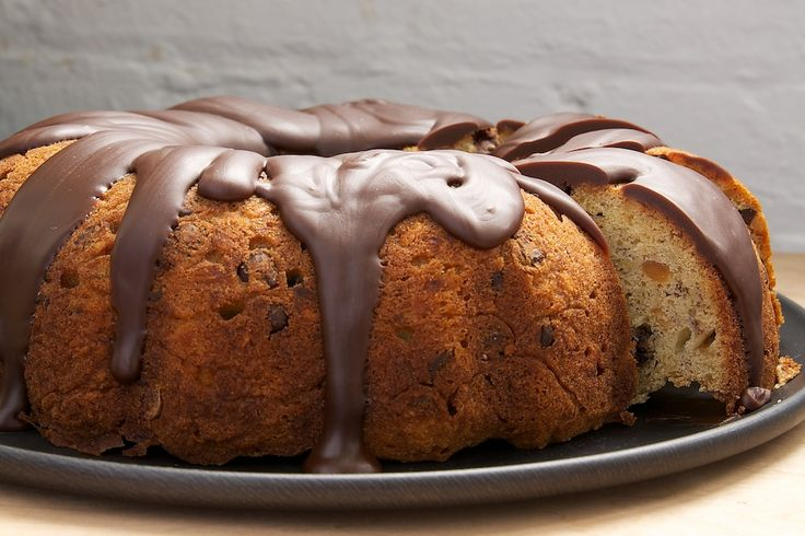 Turn banana bread into dessert with this Banana Bread Bundt Cake topped with a chocolate-peanut butter glaze.