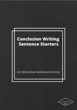 This interactive notebook activity helps your students write the perfect conclusion paragraphs for any lab report.  Have students glue the sentence starters in their notebook and then practice writing conclusions.  A fill in the blank template is included for students that struggle with organization and the concept of conclusion writing.