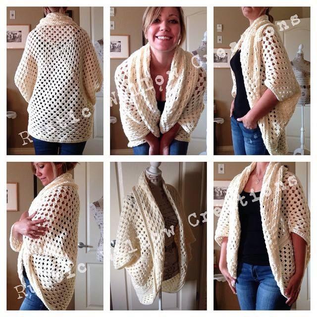Free Crochet Cocoon Sweater Pattern : Granny Cocoon Shrug Yarn Pinterest Crochet shrugs ...