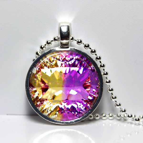 Purple Citron Yellow Gem Art Photo Pendant Necklace