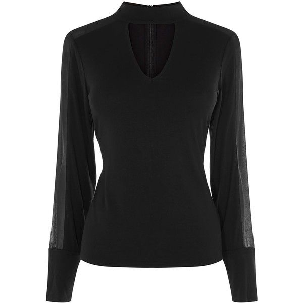 Karen Millen Georgette Choker Blouse ($100) ❤ liked on Polyvore featuring tops, blouses, women tops, long length shirts, slim shirt, long blouse, cut out top and cut out sleeve blouse