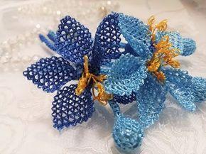 iğne oyası tesbih başlığı (mavi gül) needlework glorify title الإبرة تمجيد عنوان - YouTube