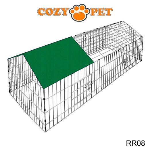 Cozy Pet Rabbit Run Playpen Rectangular with Pitched Roof 10 Ft 9 In Long x 3 Ft 4 In Wide with Protective Cover Guinea Pig Pen, Dog, Puppy, Cage Ferret, Chicken Play Pen