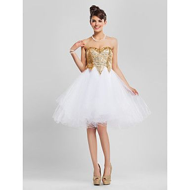 Cocktail Party/Prom/Homecoming/Sweet 16 Dress A-line/Princess/Ball Gown Strapless/Sweetheart Knee-length Tulle/Sequined Dress – USD $ 99.99