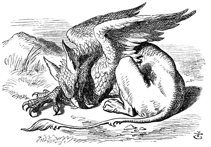 "Gryphon from Lewis Carroll's ""Alice's Adventures in Wonderland."" Illustration by artist John Tenniel."