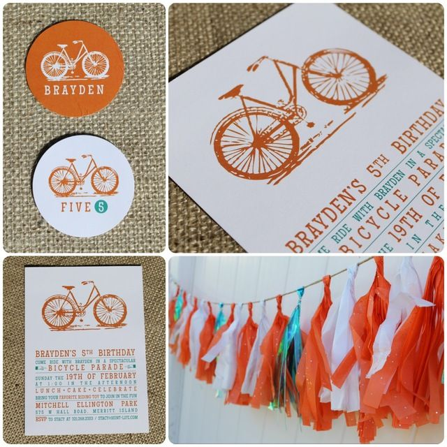 Bicycle birthday invitation.  I have always wanted to host a bicycle parade party!