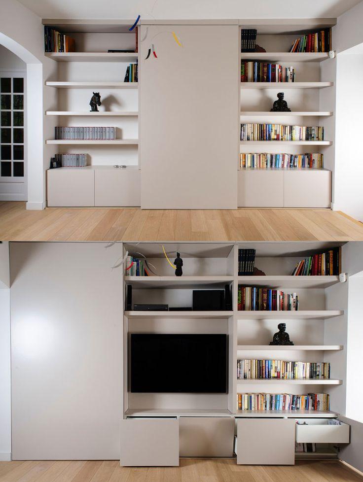 rangement bibliothèque TV http://www.carnet-interieur.com/visites-privees/savoir-faire-belge-terre-toulousaine.html