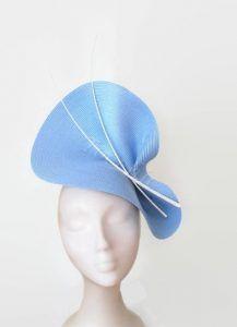 Pale blue fascinator, light blue hat, blue ascot hat, sky blue and white fascinator, blue wedding hat, pale blue derby hat, blue races hat
