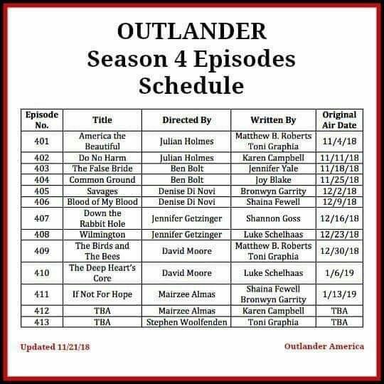 Outlander Season 4 Schedule | Outlander | Outlander series