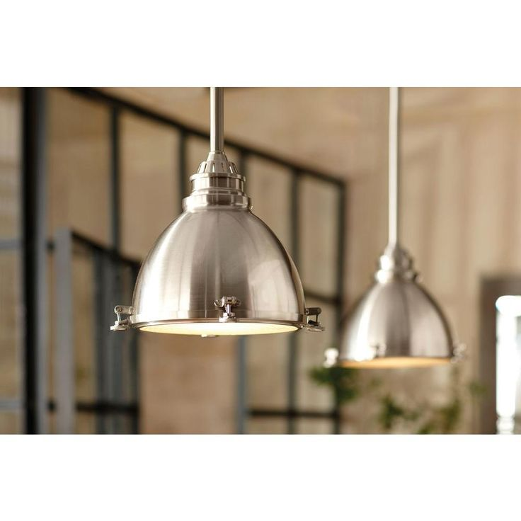 100 Home Decorators Collection 1 Light Ceiling Brushed Nickel Metal Dome  Pendant 25397