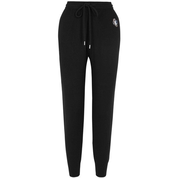 Markus Lupfer Black Embellished Wool Jogging Trousers - Size XS (€320) ❤ liked on Polyvore featuring pants, embellished pants, solar system pants, woolen pants, wool trousers and sequin embellished pants